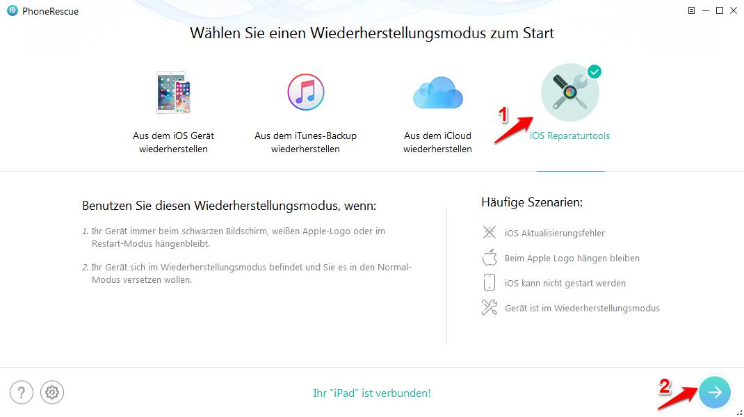 iPad startet nicht – Mit PhoneRescue fixieren – Schritt 2