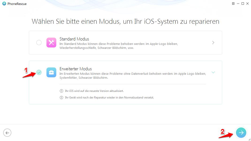 iPad lässt sich nicht einschalten – Mit PhoneRescue fixieren – Schritt 3