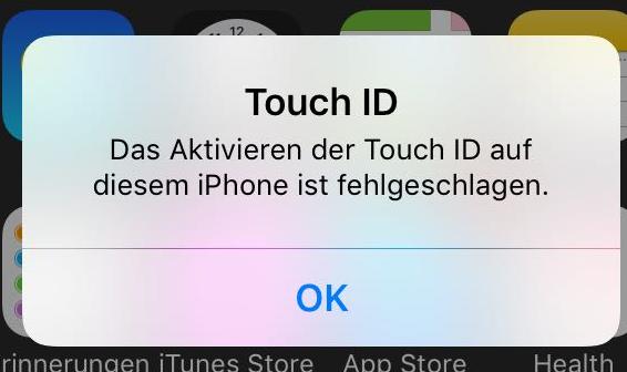 iPhone 6 Touch ID nicht aktivierbar