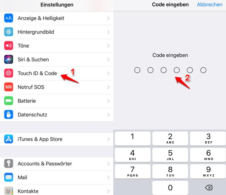 iPhone 6 Touch ID nicht aktivierbar und was tun – Schritt 1