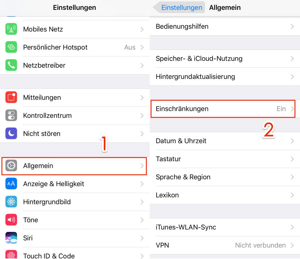 Apps mit Passwort schützen iPhone - Schritt 2