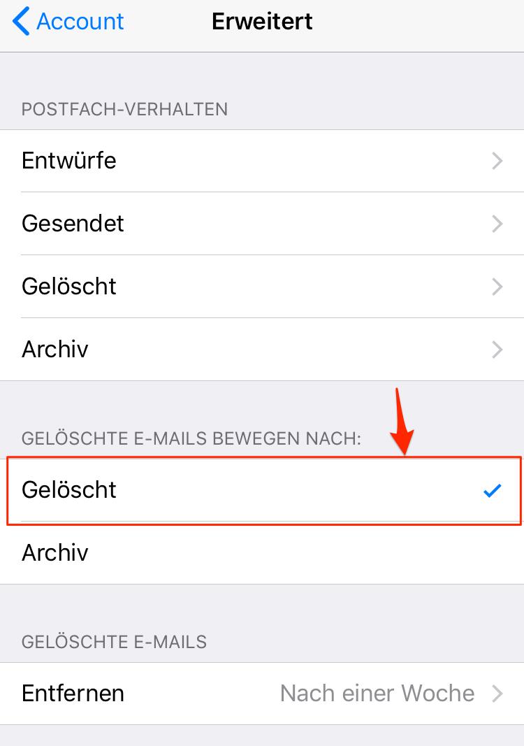 Mails lassen sich nicht löschen - Schritt 4