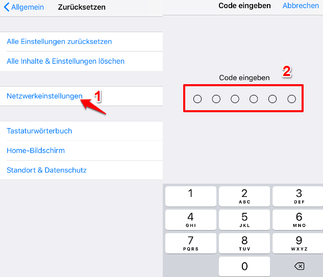 Netzwerkeinstellungen zurücksetzen iPhone – Schritt 2