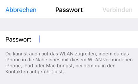 iPhone WLAN Passwort teilen