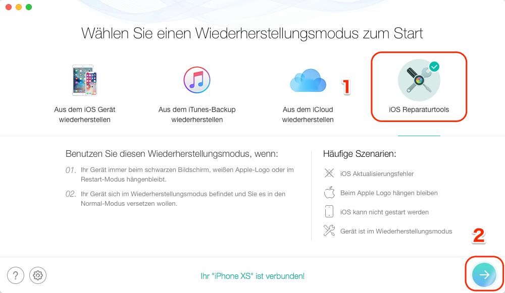 iPhone XS/XR/X/8/7 Neustart