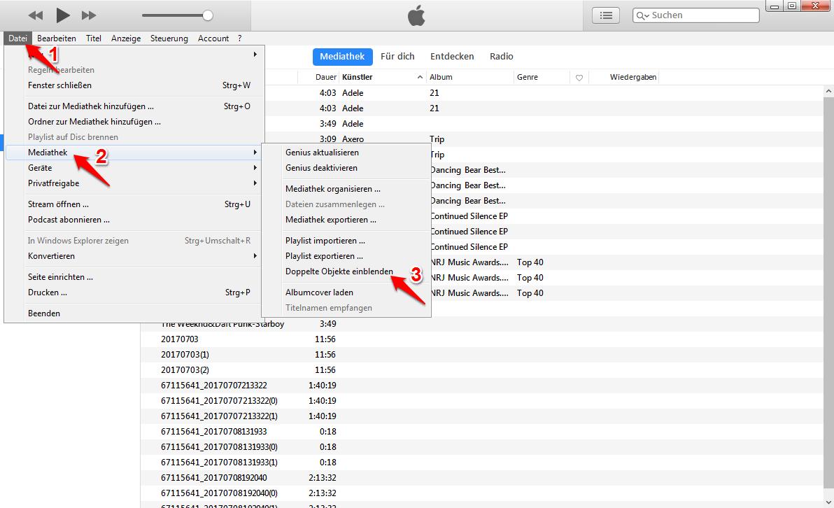 iTunes doppelte Titel löschen – Schritt 1
