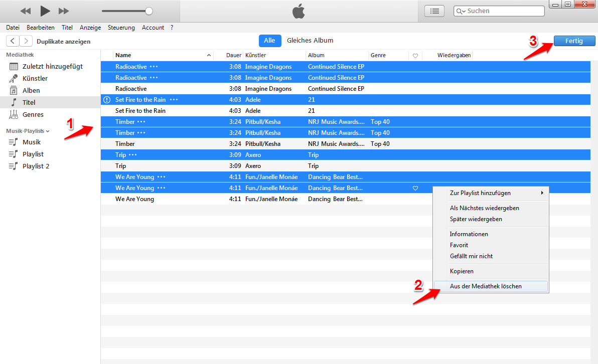 iTunes Duplikate löschen – Schritt 2