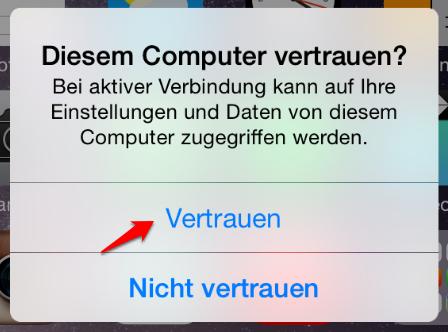 iTunes Fehler 0xe8000015 – Computer auf dem iPhone vertrauen