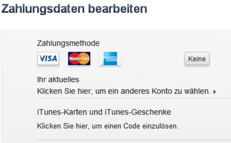 iTunes Zahlungsmethode auf Mac/PC ändern