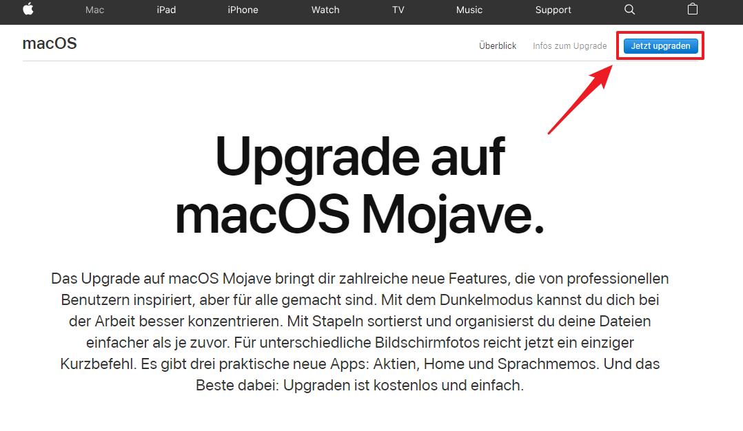 macOS Mojave download und installieren