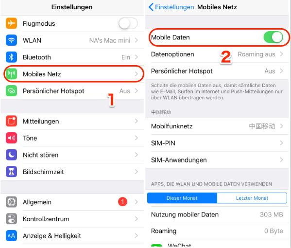 Mobile Daten funktionieren & gehen nicht - Tipp 1