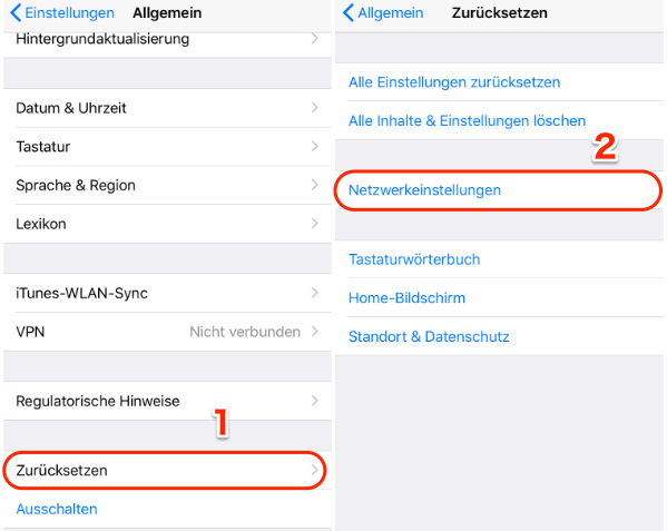 Mobile Daten funktionieren nicht iPhone iOS 12 - Zurücksetzen