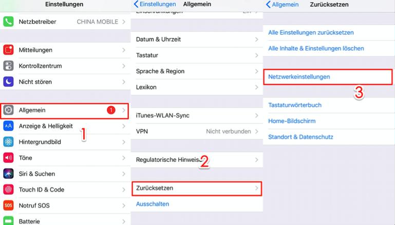 Mobiles Datennetzwerk konnte nicht aktiviert werden iOS 11