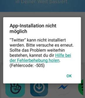 Google Play Store Fehler 505