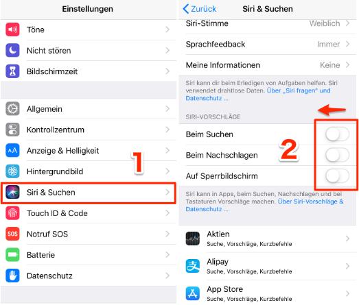 Siri Vorschläge deaktivieren iOS 12 - auf Sperrbildschirm löschen
