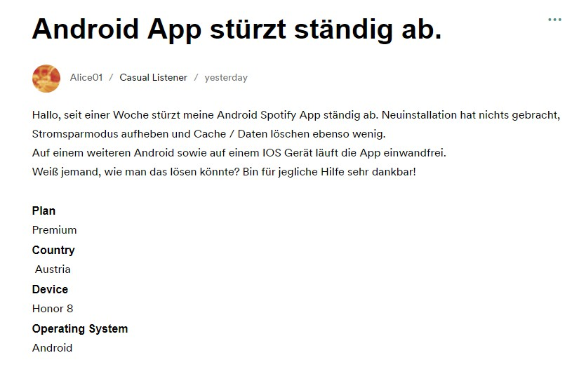 Spotify Android App stürzt ständig ab
