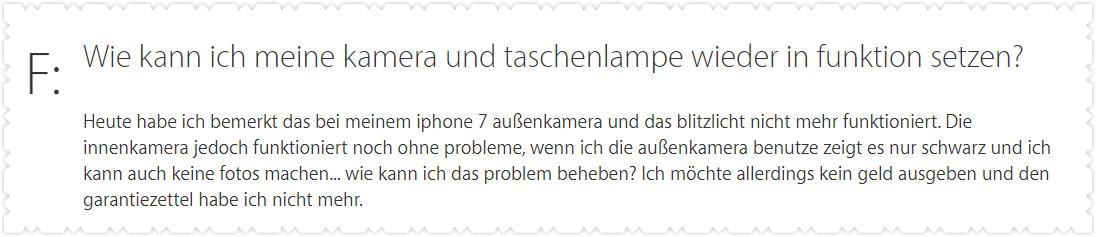 Taschenlampe iPhone funktioniert nicht