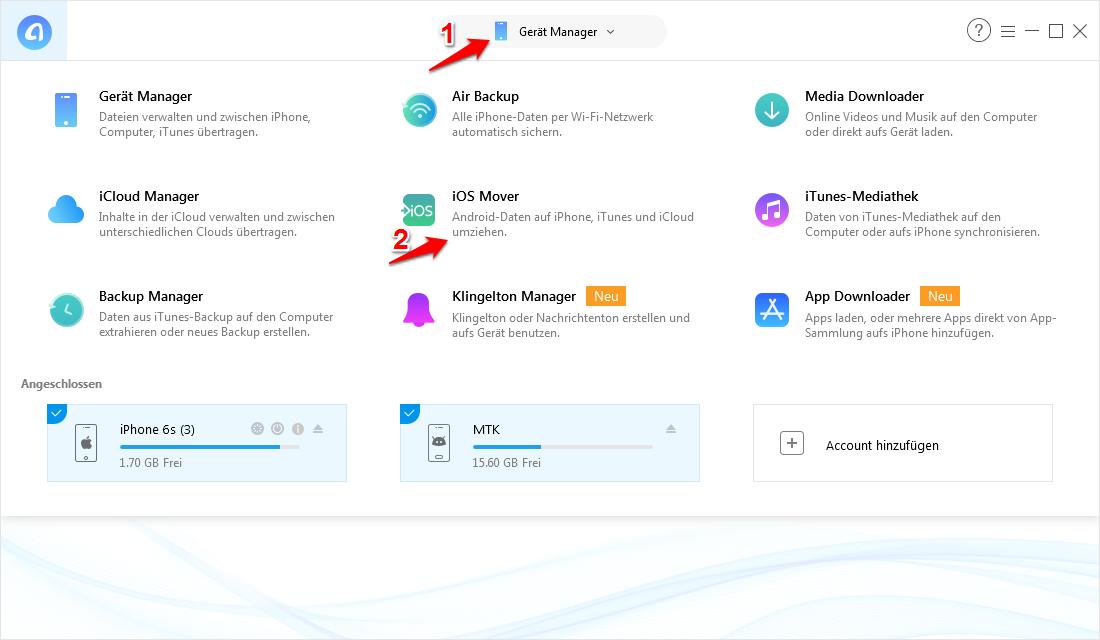 WhatsApp & Dateien von Android auf iOS/iPhone X / XS(Max) 8/7/6/5