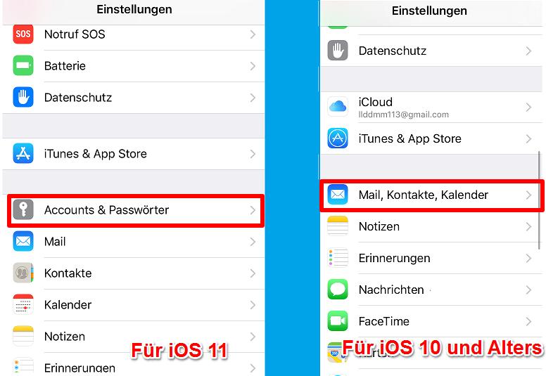 Outlook Daten auf iPhone einrichten – Schritt 1
