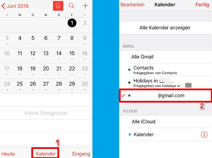 Outlook Kalender auf iPhone übertragen – Schritt 3