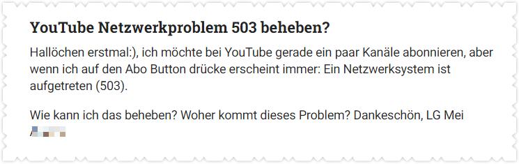 YouTube Netzwerkproblem 503