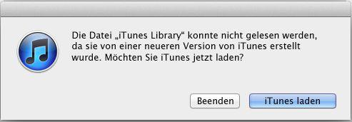 die Datei iTunes Library konnte nicht gelesen werden