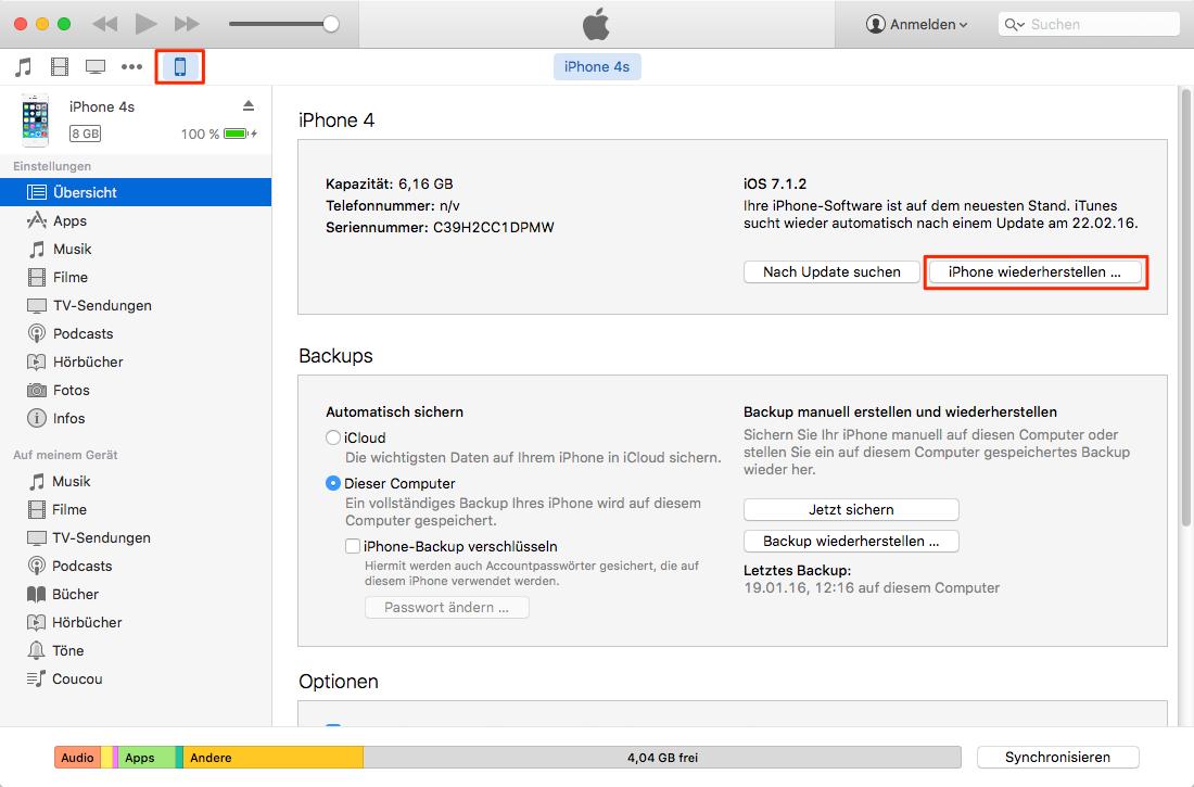 Downgrade von iOS 9.3 auf iOS 9.2 – Schritt 3