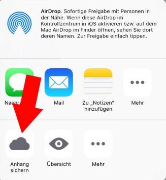 iPhone/iPad E-Mail Anhänge speichern