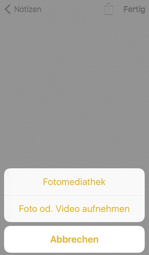 Fotos oder Videos in Notizen-App einfügen – Schritt 5