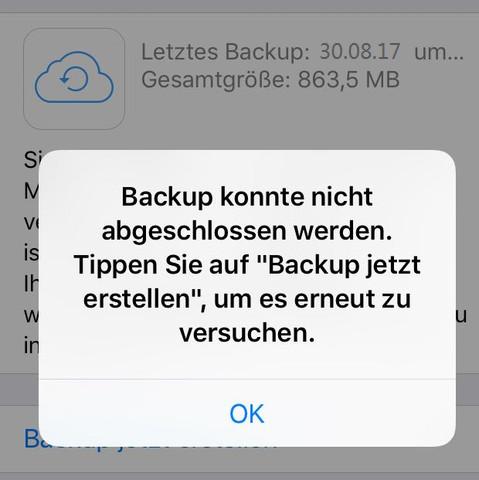 iCloud Probleme - iCloud Backup konnte nicht abgeschlossen werden