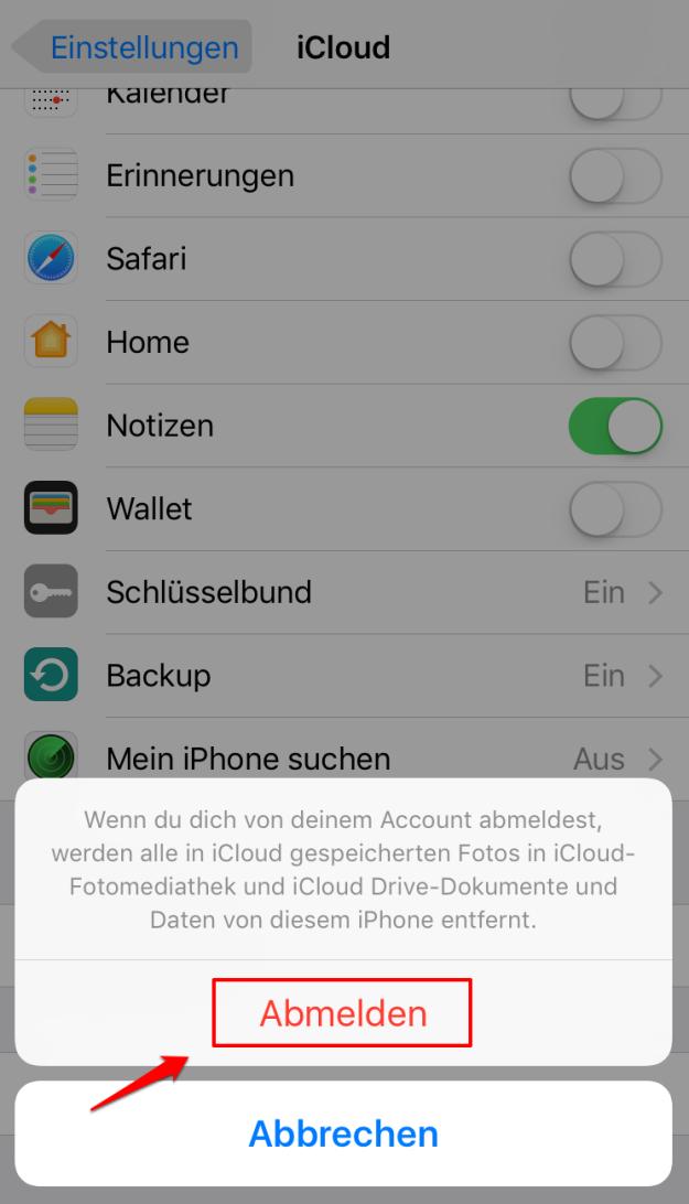 iOS 11: iCloud Backup kann nicht abgeschlossen werden – iCloud abmelden