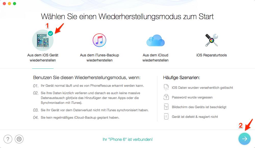 iCloud Backup wiederherstellen: iPhone/iPad Datenretten – Schritt 1