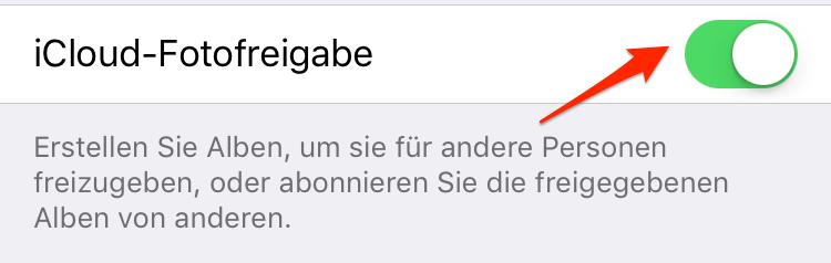 iCloud Freigabe auf iPhone aktivieren