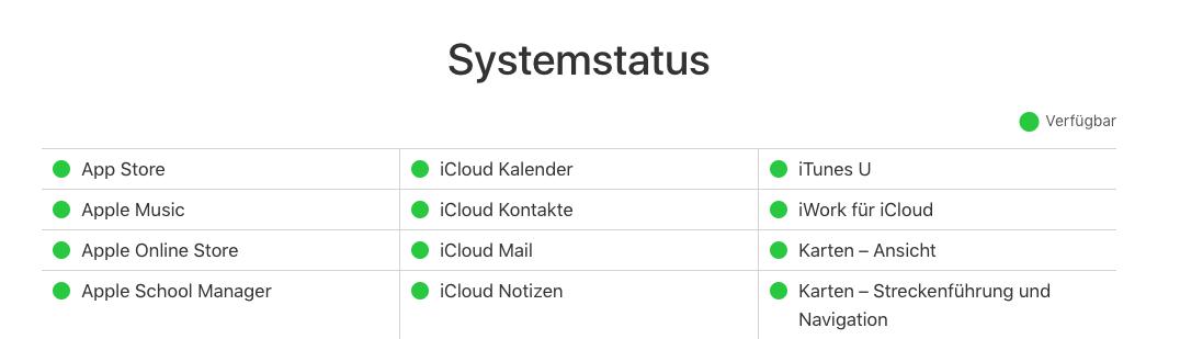 Systemstatus überprüfen: iCloud Kalender Synchronisieren nicht