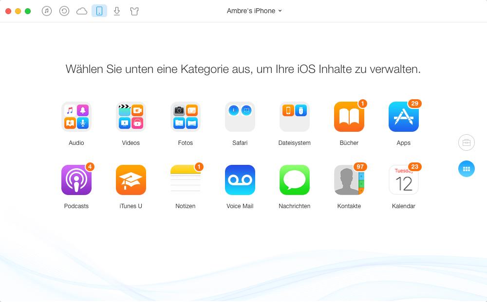 Über AnyTrans – Daten auf iCloud hochladen