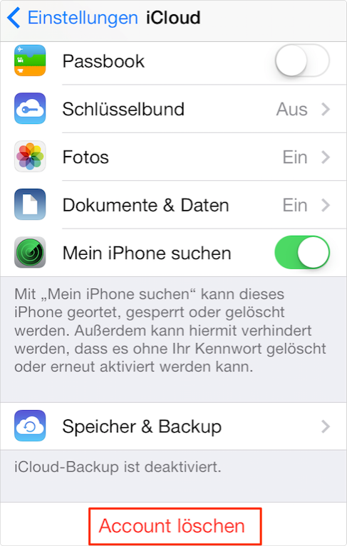 iCloud Konto vom iPhone oder iPad löschen – Schritt 3
