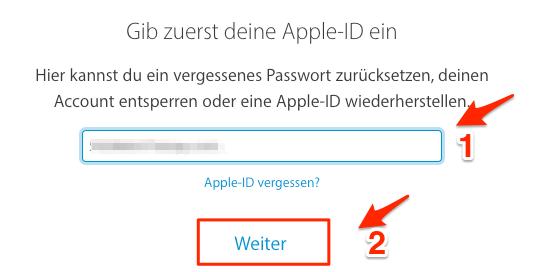 iCloud: Passwort vergessen – Schritt 2
