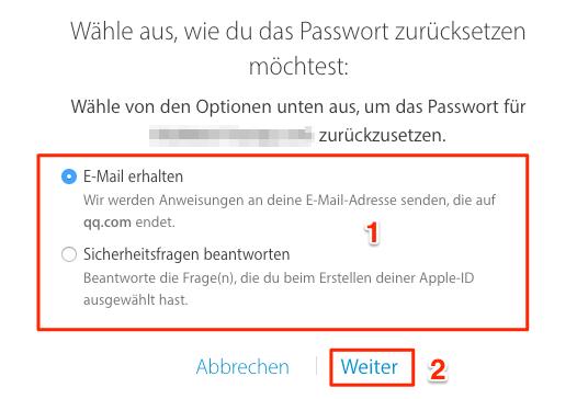 Passwort vergessen: iCloud Passwort zurücksetzen – Schritt 4