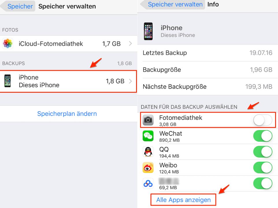 iOS 11 iCloud Speicher voll: Speicher auf dem iPhone verwalten
