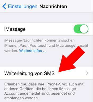 iMessage deaktivieren: Weiterleitung antippen – Schritt 2