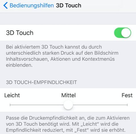 iMessage Effekte funktioniert nicht: 3D-Touch deaktivieren