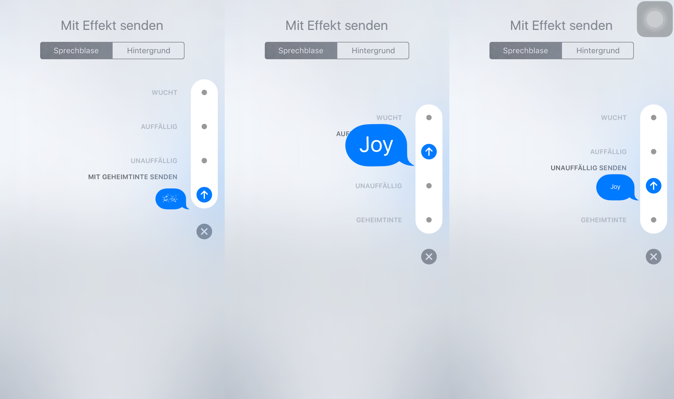 iMessage in iOS 11/11.1 mit Blase Effekte senden