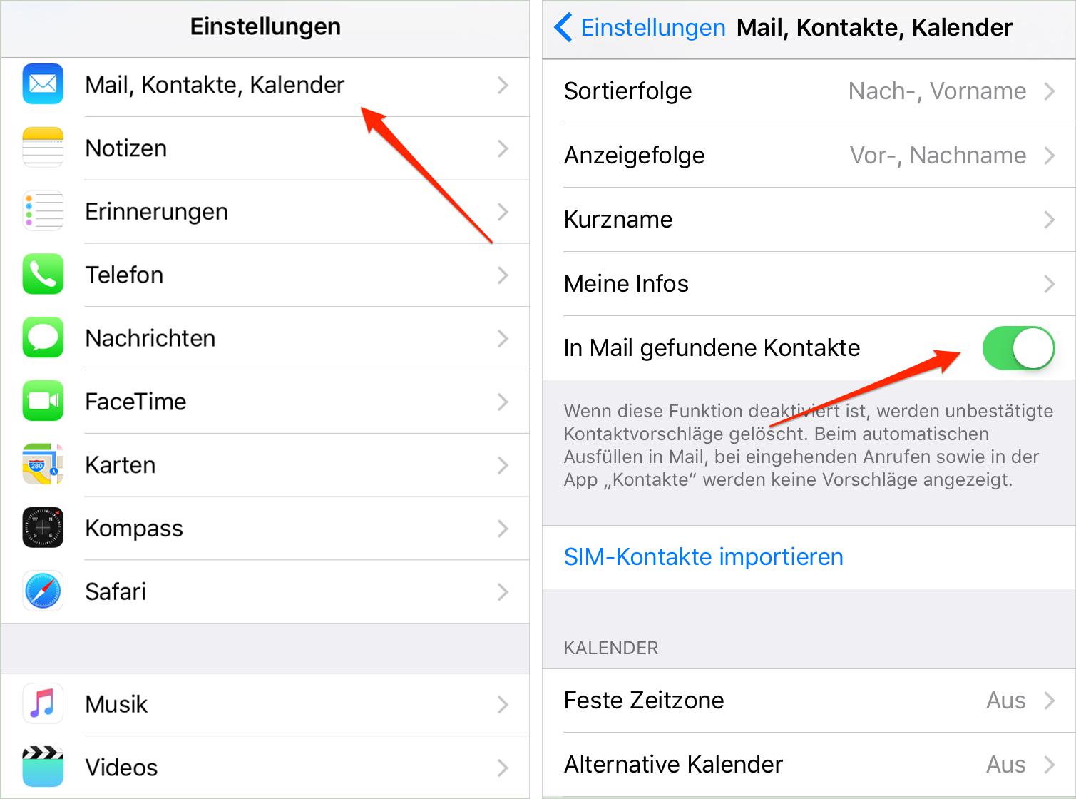 """Die Funktion """"In Mail gefundenen Kontakte"""" deaktivieren"""