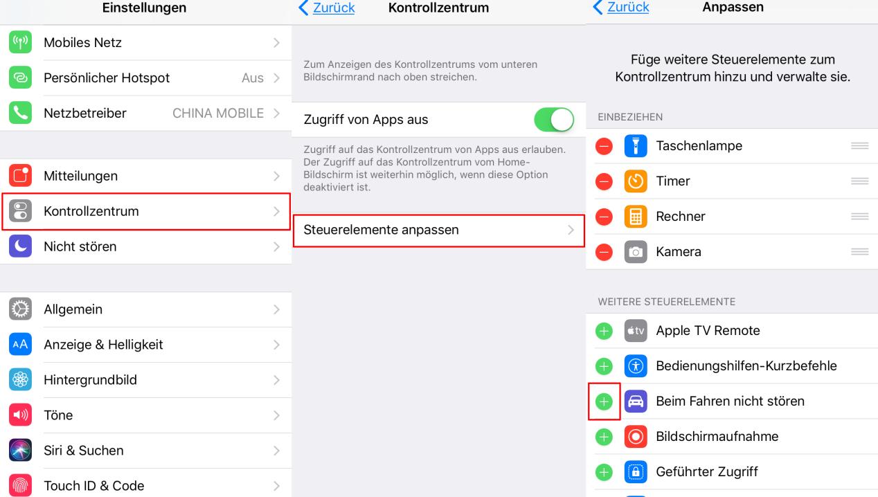 Beim Fahren nicht stören hinzufügen – iOS 11 Autofahren – im Kontrollzentrum