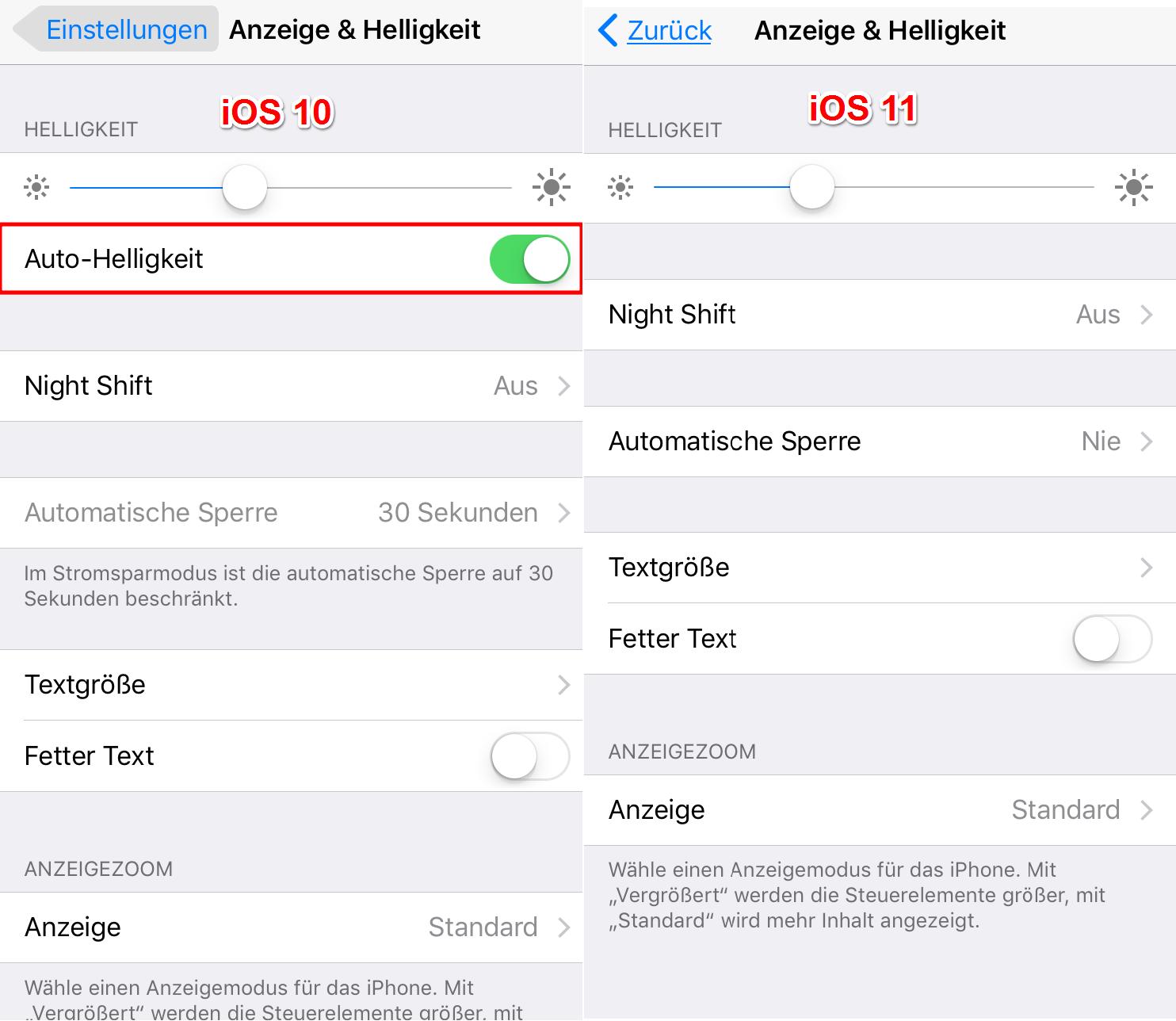 iOS 11 automatic Brightness – deaktiert man iOS 11 automatische Heiligkeit nicht