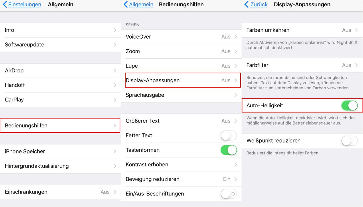iOS 11 automatische Heilligket & Auto-Brightness erfolgreich deaktivieren