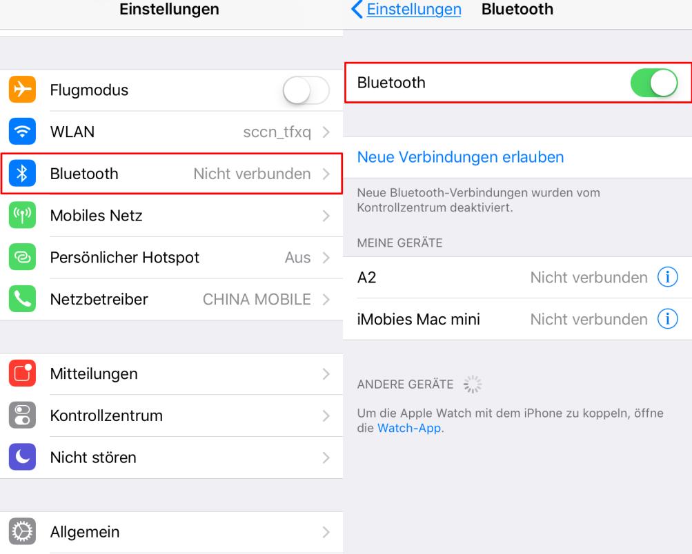 iOS 11/11.1 Bluetooth Alway-On ausschalten – Einstellungen App verwenden