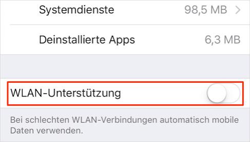 iOS 9 WLAN Assist deaktivieren – Schritt 3