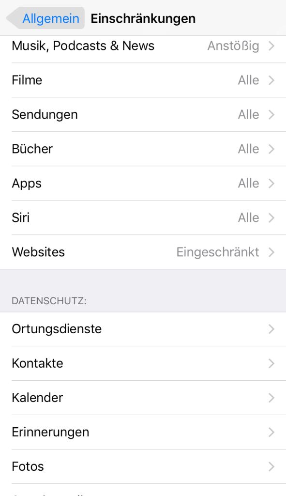 iOS 11 Block online – Inhate für Einschränkungen