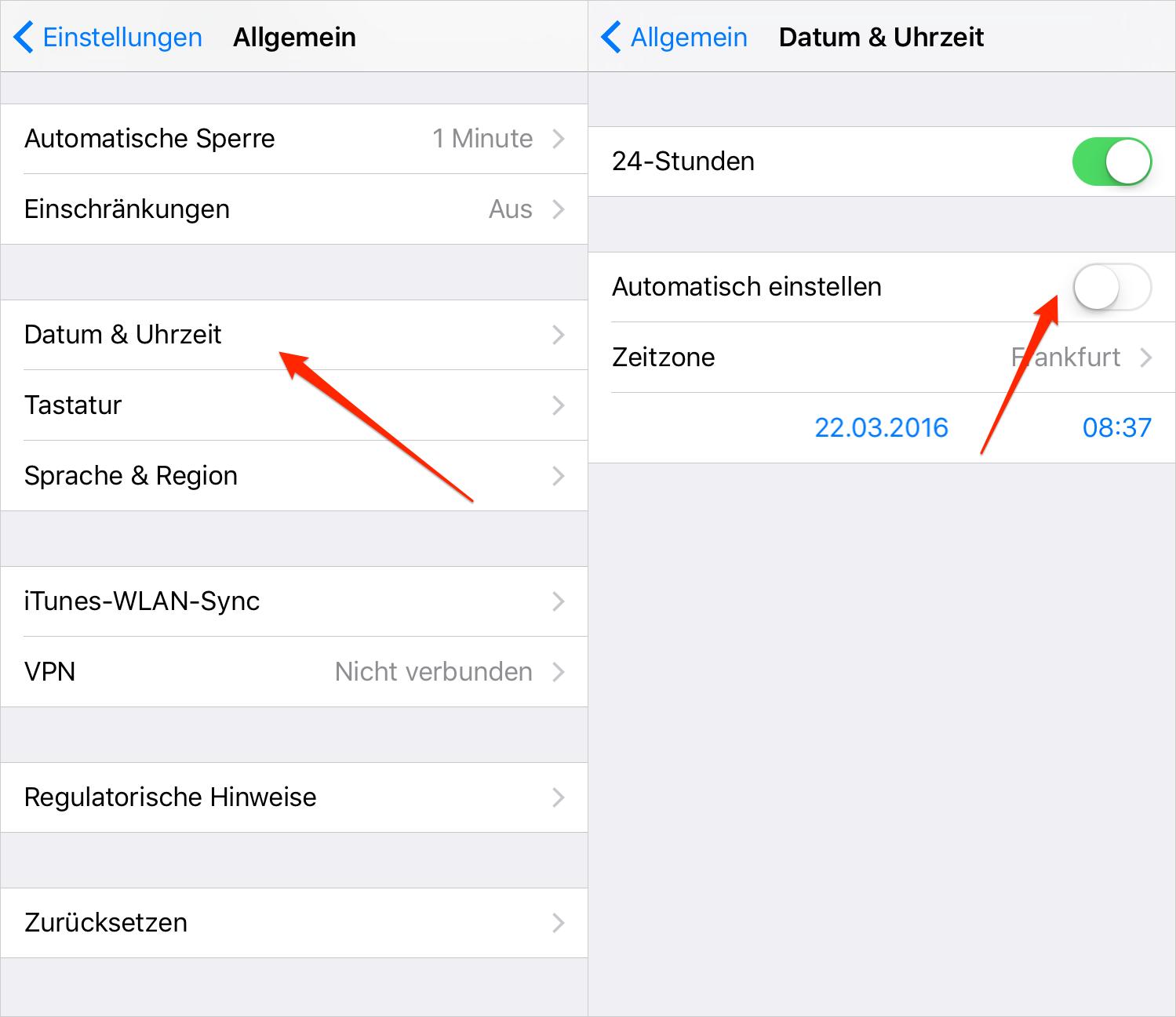 Datum & Uhrzeit auf iPhone einstellen